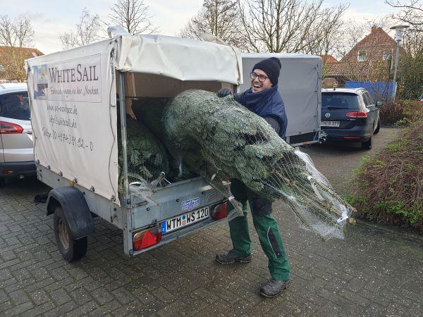 Der SV, hier Karsten Pieper, liefert die Bäume im Dorf auch frei Haus