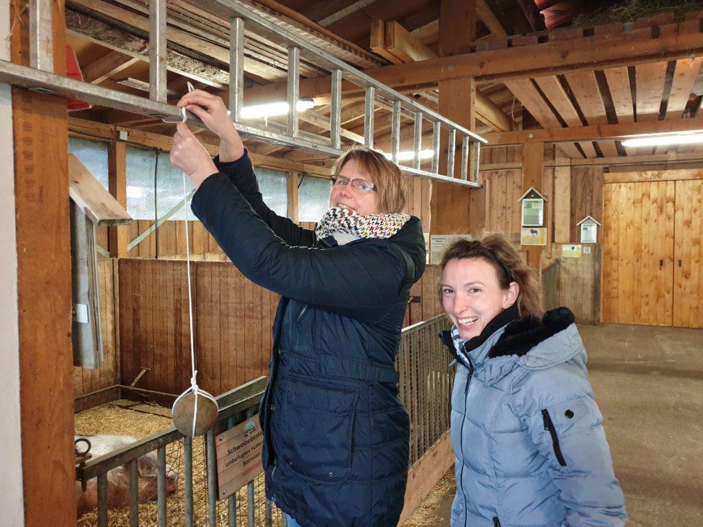Claudia Peters und Katy Sandmann hängen die Kugel auf und fordern das Haustierpark-Team heraus