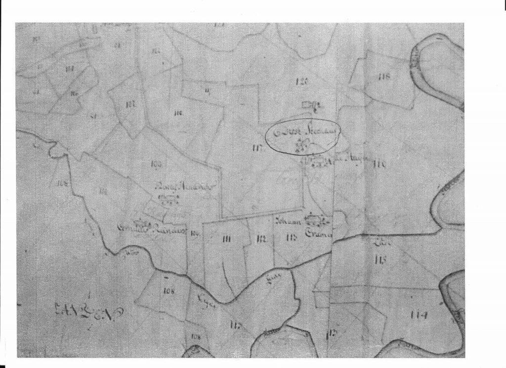 Die Regemort-Karte von 1670. Kartenausschnitt aus der Regemort-Karte 1674. Der ehemals adelige Hof ist umkreist, links die Kleinhusumser Höfe.