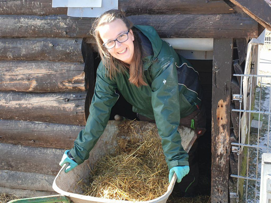 Steffi Runge lacht noch beim Ausmisten. Auch in dieser Hütte wird aufgefüllt