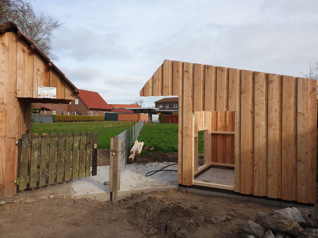 Die neue Hütte in der Bockweide steht