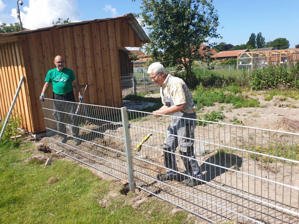 Detlev Reupert und Heinz Olbertz setzen den Zaun in der Schweinesuhle neu
