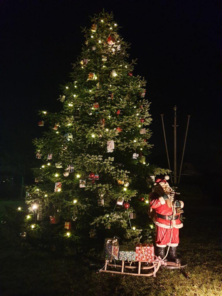 Der Weihnachtsbaum in ganzer Pracht auf dem Dorfplatz