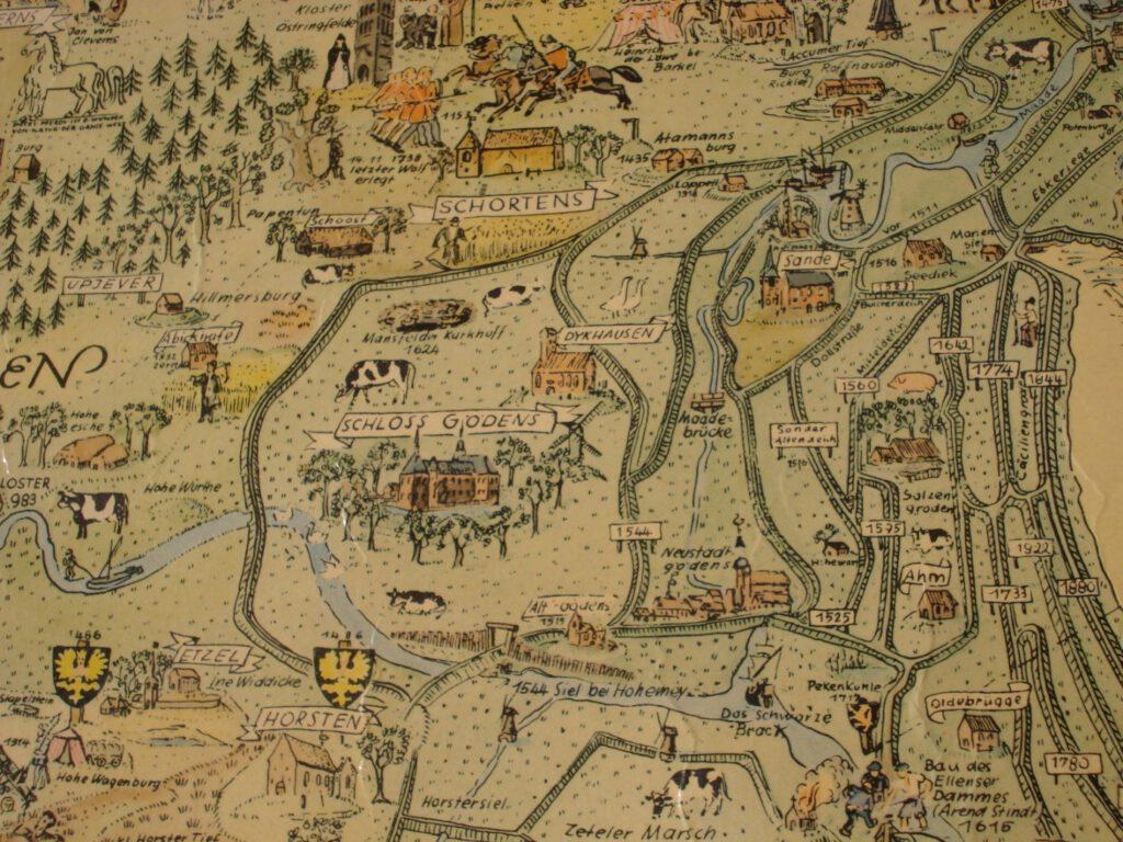 Die Karte des heutigen Frieslands mit Schortens, Gödens und Rüstringens