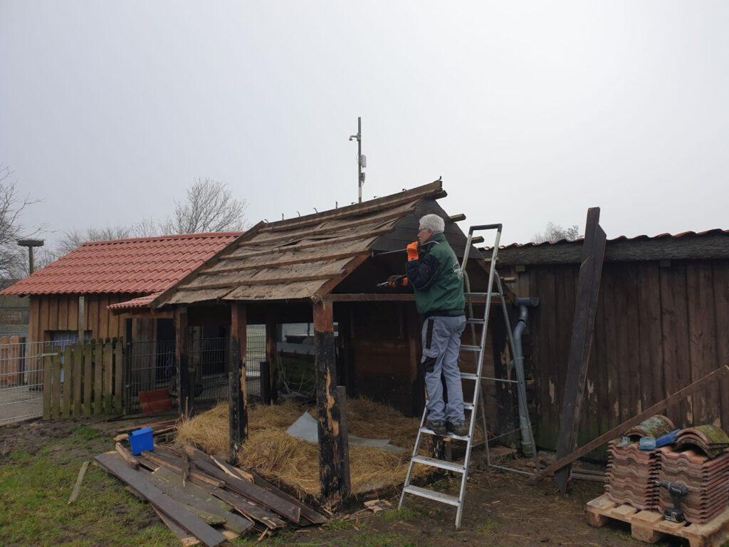 Das macht Spaß, Heinz Olbertz baut die alte Ziegenhütte ab