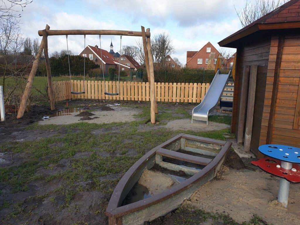 Der Spielplatz ist bis auf Restarbeiten fertig