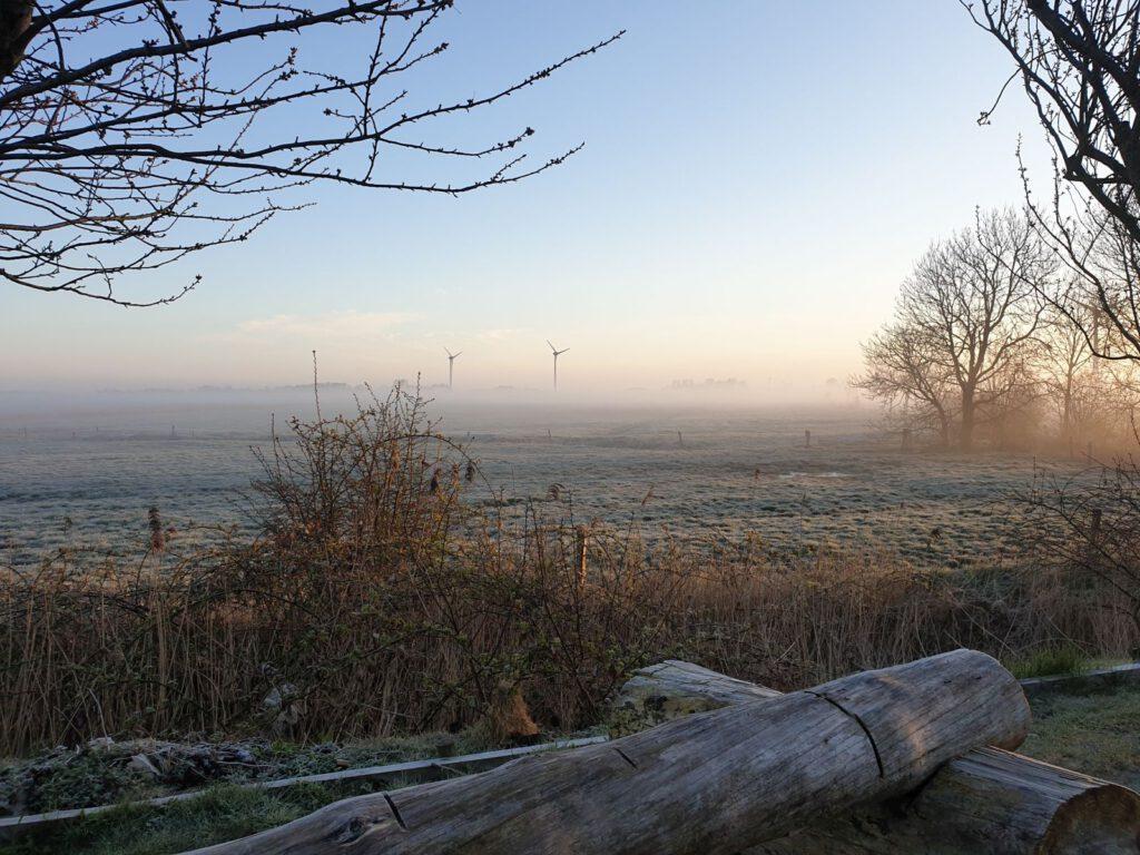leichte Nebelschwaden ziehen übers Land und trüben den Blick auf die Windkraftanlagen