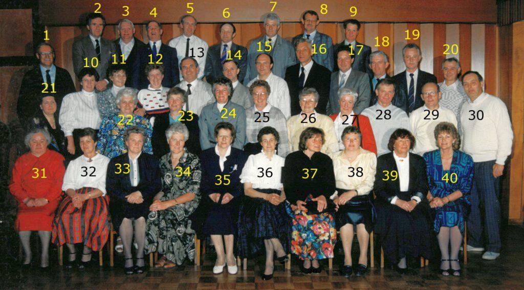 Das Schultreffen 1989.  Die Personen auf dem Foto von Ulrich Cramer wurden von Heiko Habben und Hilke Onken ermittelt und in  einer Namensliste zusammen gestellt